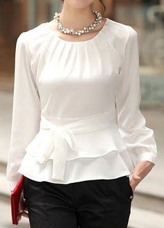 Layered Long Sleeve White Tie Front Blouse