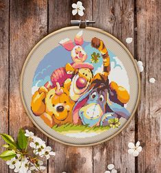 This is modern cross-stitch pattern of Winnie the Pooch Bear and His Friends for instant download. Winnie the Pooch and his friendly teem on a walk. Tigger, Eeyore, Piglet and Winnie will make a kid's room more joyful and colorful. You will get 7-pages PDF file, which includes: - main picture for your reference; - colorful scheme for cross-stitch; - list of DMC thread colors (instruction and key section); - list of calculated thread length The size of the picture is 6.93 X 7.50 (17.60 cm…