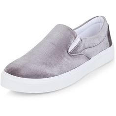 New Look Grey Velvet Slip On Plimsolls ($23) ❤ liked on Polyvore featuring shoes, sneakers, grey, gray sneakers, slip on sneakers, slip on trainers, plimsoll sneakers and velvet shoes