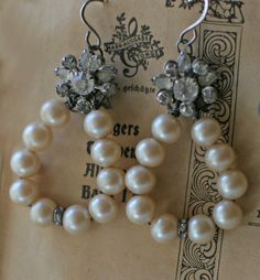 Snow Balls - assemblage earrings