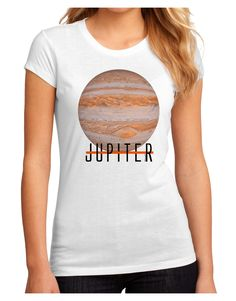 TooLoud Planet Jupiter Earth Text Juniors Petite Sublimate Tee