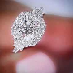 2.40 Ct Halo Round Cut Diamond 3-Stone Half Moon Engagement Ring H,VS2 GIA 18KWG