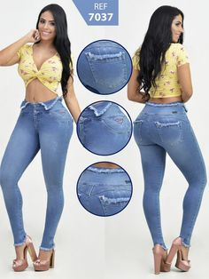 Jeans Colombiano Levantacola - Ref. Girl Fashion, Fashion Outfits, Womens Fashion, Blue Jeans, Denim Jeans, Moda Chic, Fashion For Women Over 40, Jeans Style, Shorts