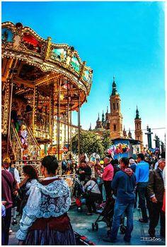 Fiestas del Pilar, dia 13 octubre mañana en la plaza del Pilar Zaragoza.