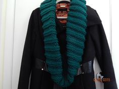 SALE:  Emerald green hand knit Cowl by NanaJansXmasCrafts on Etsy