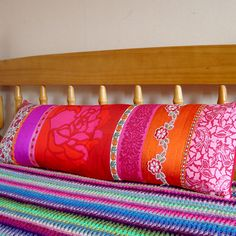 Long Bolster Style Patchwork Pillow