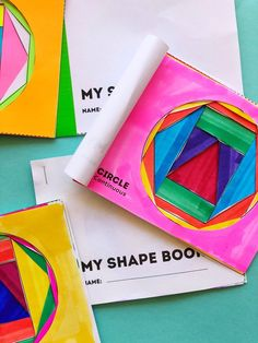 Math Book Art: My Shape Book (Shape Activities for Kids) 2d Shapes Activities, Geometry Activities, Math Activities For Kids, Math For Kids, Kids Learning, Steam Activities, Steam Learning, Preschool Ideas, Math Crafts