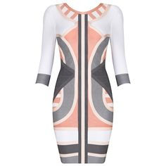 Herve Leger Orange And Gray Mixed Color Long Sleeve Bandage Dress H54