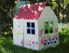 casinha-de-papelão-modelo-8  #clube da aninha  arte com caixa de papelão caixa de papelão brincadeiras para crianças cardboardforkids