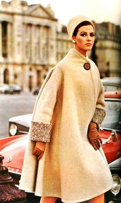 (1950's Vintage) Wool Coat with matching Pillbox-Hat | Edward Molyneux