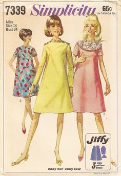 Vintage Sewing Pattern - 1967 Misses Jiffy Dress with Detachable Collar Simplicity 7339 Size 14 Bust 34
