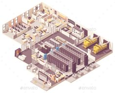 Buy Isometric Data Center Interior by on GraphicRiver. Server room with hot and cold aisle containment, generator, UPS and battery rooms, CRAC. Network Operations Center, Data Room, Isometric Map, Server Room, Flyer Design, Interior, Scale Model, Warehouse, Badass