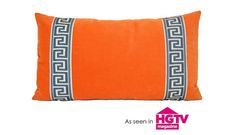 Orange Lumbar Pillow Cover with Greek Key by ThereseMarieDesigns