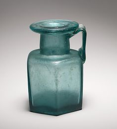 The Metropolitan Museum of Art - Glass hexagonal bottle, Early to Mid Imperial Date: half of century A. Culture: Roman Medium: Glass Dimensions: Overall: 5 x 3 in. x 9 cm) Classification: Glass Antique Glass Bottles, Antique Glassware, Glass Vessel, Glass Art, Art Romain, Ancient Artifacts, Bottle Art, Art Object, Metropolitan Museum