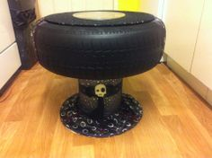 upcycled tyre table made from recycled tyre and cable reel