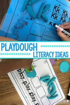 Playdough fun for kindergarten and first grade.   Fine motor skills and literacy combined!  Sight words, phonics, and more! Kindergarten Literacy Stations, Kindergarten Anchor Charts, Kindergarten Lesson Plans, Kindergarten Reading, Teaching Reading, Fun Learning, Literacy Centers, Teaching Ideas, Guided Reading
