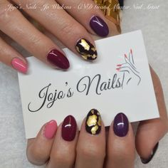 CND Brisa Lite Sculpting Gel overlays with Shellac and gold leaf - By Jo Wickens @ Jojo's Nails - www.jojosnails.com  Artiglio gold leaf on middle fingers - Available in the uk from www.jojosnailstore.co.uk