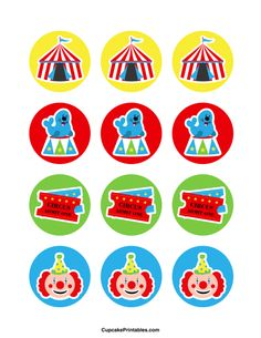Circus cupcake toppers. Use the circles for cupcakes, party favor tags, and more. Free printable PDF download at http://cupcakeprintables.com/toppers/circus-cupcake-toppers/