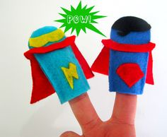 Easy pattern to craft with kids — Superhero Finger Puppets!