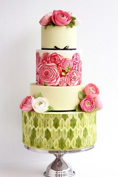 Beautiful 4-tier Floral Cake | Pink and White Ranunculus, Green Leaves & Black Ribbon Accents