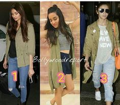 Athiya Shetty, Alia Bhat # pairing up the military jacket in different ways# Indian casual fashion
