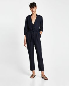 Image 1 of CROSSOVER JUMPSUIT WITH BELT from Zara