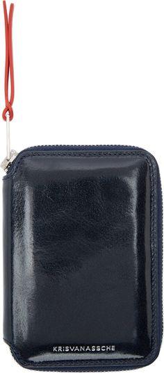 Krisvanassche: Navy Zip Wallet | SSENSE