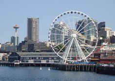 Seattle Farris Wheel & next to it is the Sea Aquarium with the iconic Space Needle in the background.