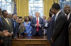 Trump used Black college presidents for Black History Month photo op, lied about school funding plan    Donald Trump had officials from Historically Black Colleges and Universities in the Oval Office for a Black History Month photo op, while doing nothing to follow up on his promise to fund those schools.