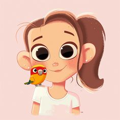 Girl, Pet, Parrot, Portrait, Digital Painting, Illustration, Character Design, Female Character Design, Cute Character Design, Drawing