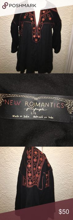 Free People New Romantics Large Top Orange & Black Very versatile, unusual, beautiful long sleeve top from Free People's New Romantics Collection. Looks amazing for work. Has gorgeous orange stitching and little mirrors embroidered decoratively. Free People Tops Blouses