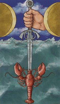 Ace of Swords from the Universal Wirth Tarot. Swords are associated with water in this deck, and Cups with air.
