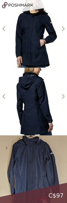 NWT! Helly Hansen L woman's jacket waterpr… Waterproof, comfortable, long, hooded and lined rain jacket. Great for fall and spring but could be layered with sweaters for colder days. Brand new with tags. Never worn. All zippers and snaps working and in mint condition. Navy. Helly Hansen Jackets & Coats Ralph Lauren Dress Shirts, Dress Shirts For Women, Winter Jackets Women, Helly Hansen, Tommy Hilfiger Women, Black Skinnies, Zippers, Rain Jacket, Mint