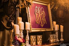 Easily decorate your entry way with a framed monogram and a few candles! Plus, you can reuse and hang your monogram in your house after your wedding! Floral and décor by Southern Event Planners Photo by Snap Happy Framed Monogram, Event Planners, Candle Sconces, Reuse, Wall Lights, Southern, Candles, Floral, Happy