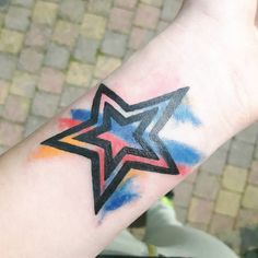You've to add the colors in life  #tattoo #star #stars #watercolortattoo by _kleineklein