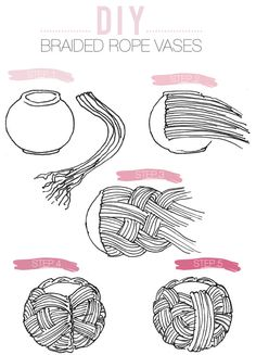 Diy Crafts - Supplies for Rope of cotton rope (from the spool at Home Depot)-Cotton kitchen twine or thin cotton rope (several hund Rope Crafts, Diy Home Crafts, Arts And Crafts, Sewing Crafts, Kitchen Twine, Rit Dye, Diy Braids, Macrame Knots, Diy Projects To Try