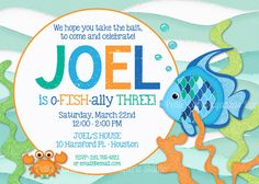 Rainbow Fish Invitations - Set of 24  Under the Sea Boys Birthday Invitations Fishing Birthday Invitation