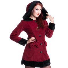 Valarie winterjas met grote capuchon en nepbont detail bordeaux rood/zwart…