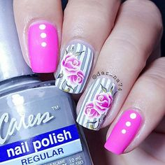 Striped floral mani. get your rose nail decals at www.lapaloma-boutique.com