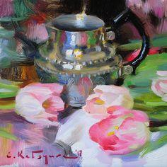 Silver and Tulips by Elena Katsyura Oil ~ 8 in x 8 in