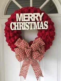 Burlap Christmas Wreath Christmas Wreaths Winter by NaturesDoorway