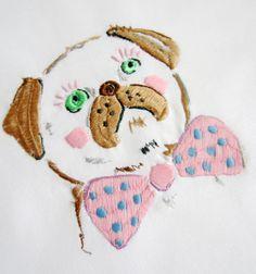 Thomas the Pug - Embroidery on cotton by me - Studio Legohead