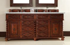 """James Martin 100-V72-BCH-CAR Continental 72"""" Burnished Cherry Double Vanity with Carrera White Stone Top"""