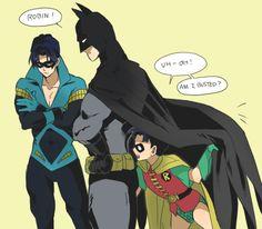 Nightwing Robin and Batman Nightwing, Batgirl, Batman Comic Art, Batman Robin, Marvel Dc Comics, Batman Batman, Tim Drake, Batman Arkham City, Batman Arkham Origins