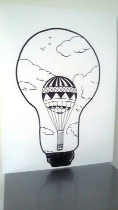 """Affiche Illustration Noir et blanc ampoule """" idée d'envol """" : Dessins par stefe-reve-en-feutrine"""