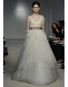 New wedding dresses by Vera Wang from the designer's Spring 2012 bridal runway collection. New Wedding Dresses, Designer Wedding Dresses, Bridal Dresses, Formal Dresses, Vera Wang Bridal, Most Beautiful Dresses, Wedding Designs, One Shoulder Wedding Dress, Spring