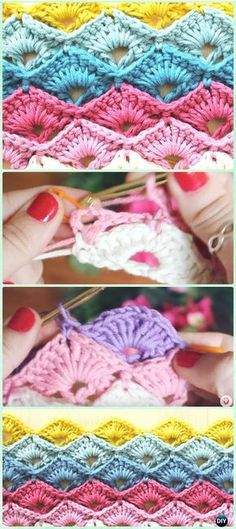 Crochet Fan Point Box Stitch Free Pattern [Video] - Crochet Radian Stitches Free Patterns