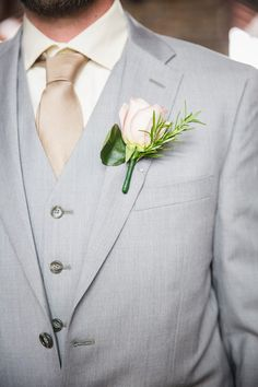 Summer wedding groom idea - light gray three-piece suit, champagne-colored silk tie and classic rose boutonniere {Taylored Photo Memories}