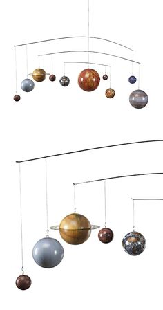 Enchant a playroom, child's bedroom, or handsome study space with this mesmerizing mobile. Featuring ten gorgeous decorative orbs, this Planetary Mobile will prove a fascinating educational tool and go...  Find the Planetary Mobile, as seen in the Across the Night Sky Collection at http://dotandbo.com/collections/across-the-night-sky?utm_source=pinterest&utm_medium=organic&db_sku=112364