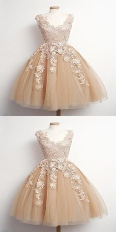 Prom Dresses Short Prom Dresses, Prom Dresses Lace, Ball Gown Homecoming Dress, Prom Dresses V-neck Prom Dresses 2019 Champagne Homecoming Dresses, Cute Homecoming Dresses, Tulle Prom Dress, Short Bridesmaid Dresses, Cheap Prom Dresses, Simple Dresses, Short Dresses, Champagne Short Dress, Dress Lace